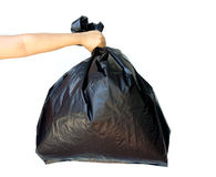 Woman hand holding garbage bag isolated Stock Images
