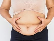 Woman hand holding her own belly fat. woman diet lifestyle to re stock image