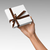 Woman Hand holding Holiday Present White Box with Brown Ribbon Stock Photography