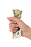 Woman hand holding hundred dollars. Woman hand squeezing hundred dollars Royalty Free Stock Photos