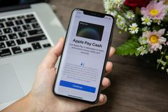 Woman hand holding iPhone X with Apple Pay on screen stock images