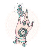 Woman hand is holding magic crystal. Vector illustration isolated. Tattoo design, mystic magic symbol for your print. Royalty Free Stock Photography