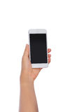 Woman Hand holding mobile smart phone with blank screen. Isolate Stock Images