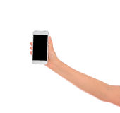 Woman Hand holding mobile smart phone with blank screen. Isolate Royalty Free Stock Photo