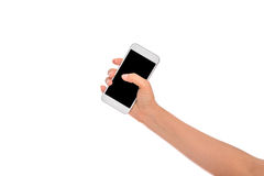 Woman Hand holding mobile smart phone with blank screen. Isolate Royalty Free Stock Images