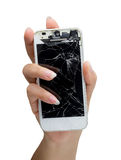 Woman hand holding mobile smartphone with broken screen. Isolated stock photos