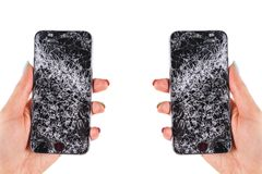 Woman hand holding modern mobile smartphone broken screen and damages. Cellphone crashed and scratch. Device destroyed. Smash gadg. Et, need repair. Isolated on stock photos