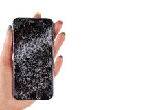 Woman hand holding modern mobile smartphone broken screen and damages. Cellphone crashed and scratch. Device destroyed. Smash gadget, need repair. white royalty free stock image