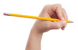 Woman hand holding a pencil Royalty Free Stock Image