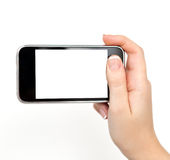 Woman hand holding the phone Stock Photography