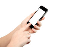 Woman hand holding the phone with isolated screen Royalty Free Stock Photo