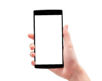 Woman hand holding phone isolated on white background Stock Photo