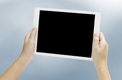 Woman hand holding the phone tablet Stock Photography