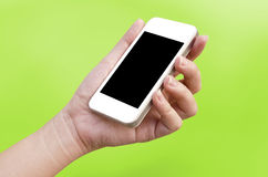 Woman hand holding the phone tablet Stock Photos