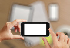 Woman hand holding the phone tablet touch Stock Photography