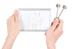 Woman hand holding photo frame with paper house and keys isolate Stock Images