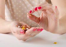 Woman hand holding  pills. Stock Image