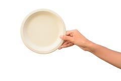 Woman hand holding Plant fiber food bowl Royalty Free Stock Photo
