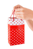 Woman Hand Holding Red Gift Bag with Present royalty free stock image