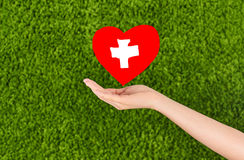 Woman hand holding red heart Stock Photos