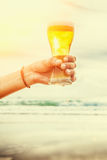 Woman hand holding a refreshing beer Stock Photos