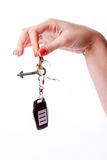 Woman hand holding remote control Royalty Free Stock Photo