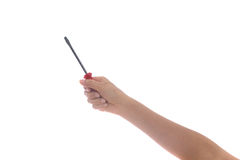 Woman Hand holding screwdriver on white Stock Photography