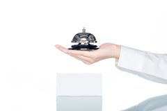 Woman hand holding Service bell , receptionist Royalty Free Stock Images