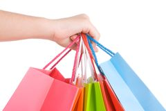 Woman hand holding several shopping bags Stock Images
