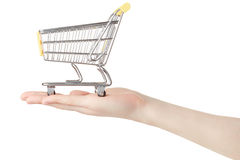 Woman hand holding shopping cart Stock Photo