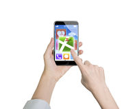 Woman hand holding smart phone finger touching map icon Royalty Free Stock Photo