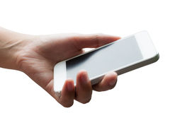 Woman hand holding smart phone Royalty Free Stock Photos