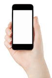Woman hand holding smartphone Royalty Free Stock Photo
