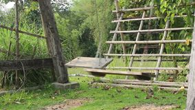 Empty two swings swaying in garden. Stock video stock footage