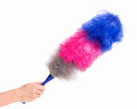 Woman hand holding soft duster Royalty Free Stock Photo