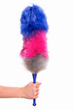 Woman hand holding soft duster. Hand holding broom for cleaning or soft colorful duster with plastic handle, isolated on white background. Cleaning woman holding Stock Photos