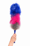 Woman hand holding soft duster. Hand holding broom for cleaning or soft colorful duster with plastic handle, isolated on white background. Cleaning woman holding Royalty Free Stock Photography