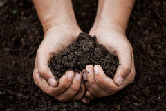 Woman hand holding soil in heart shape. For planting Royalty Free Stock Images