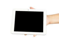 Woman hand holding tablet Stock Image