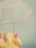 Woman hand holding transparent umbrella Stock Photos
