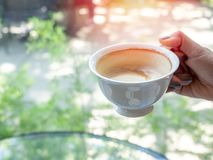 Woman hand holding a white hot coffee cup royalty free stock photos