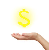 Woman hand holding yellow dollar Stock Photography