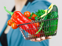 Woman hand holds shopping basket with vegetables Royalty Free Stock Images