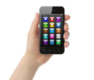 Woman hand holds smart phone with icons Royalty Free Stock Photos