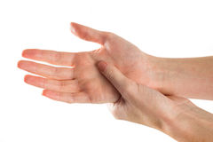 Woman with hand injury Stock Images