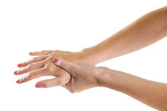 Woman with hand injury Royalty Free Stock Photos