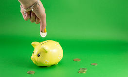 Woman hand inserting coin into piggy bank Stock Photo