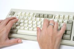 Woman hand and keyboard. Keyboard Royalty Free Stock Images