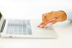Woman hand laptop Royalty Free Stock Photo