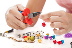 Woman with hand made jewellery stock images